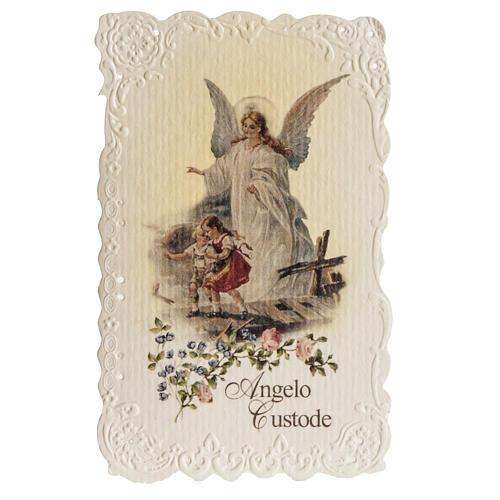 Estampa Ángel de la Guarda con oración italiano 1