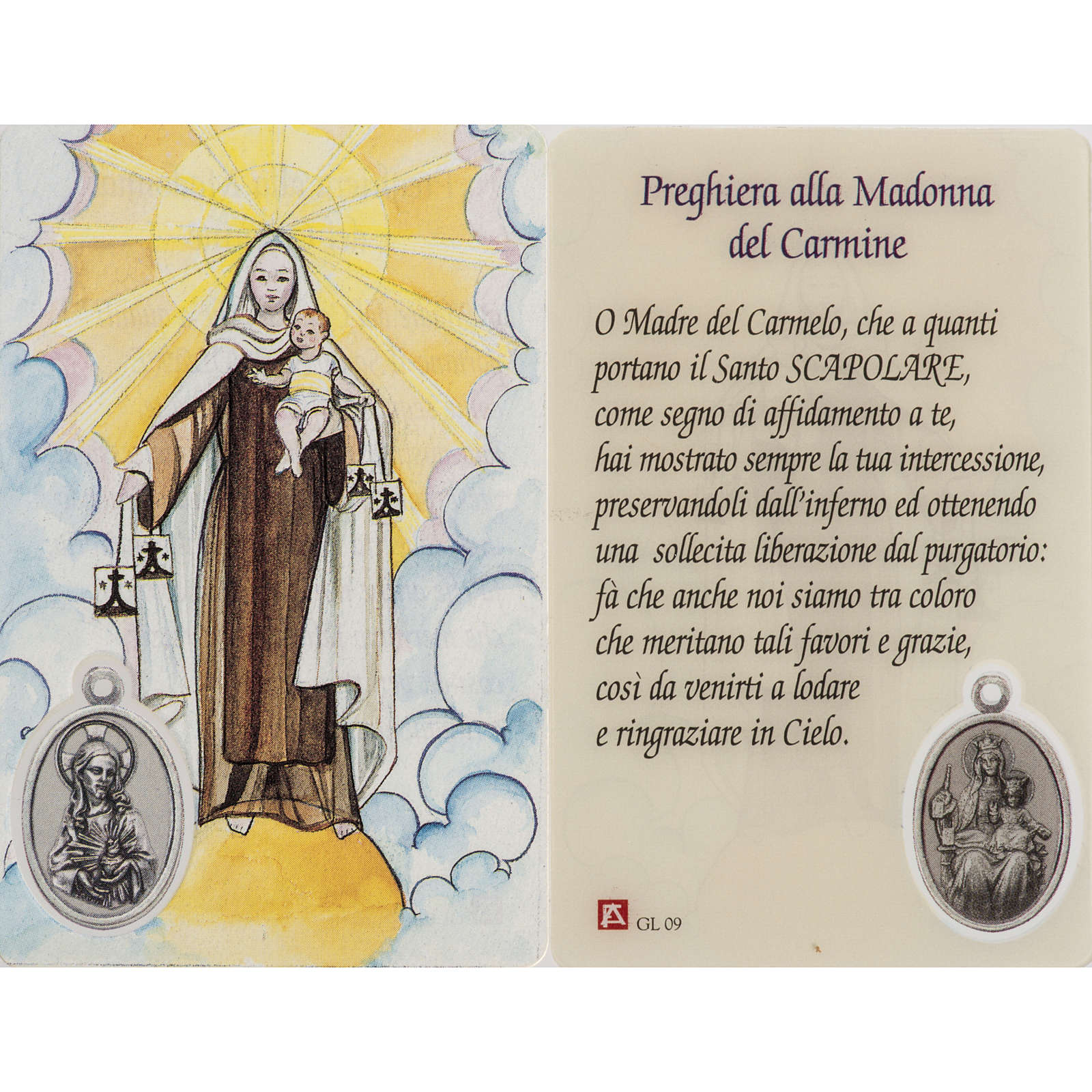 Holy card, Our Lady of Mount Carmel with prayer, laminated 4