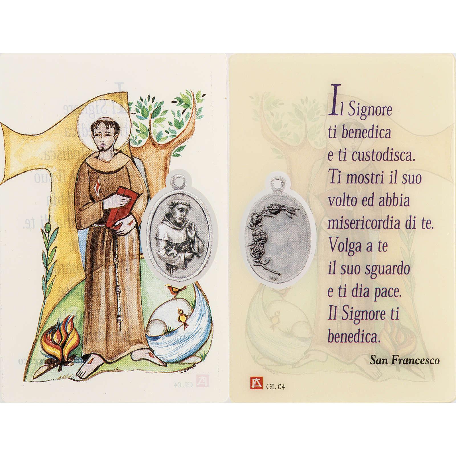 Santino San Francesco plastificato con preghiera 4