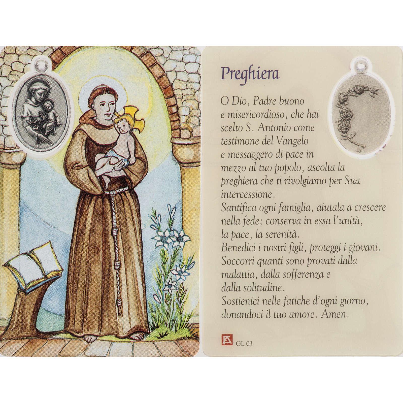 Santino Sant'Antonio plastificato con preghiera 4