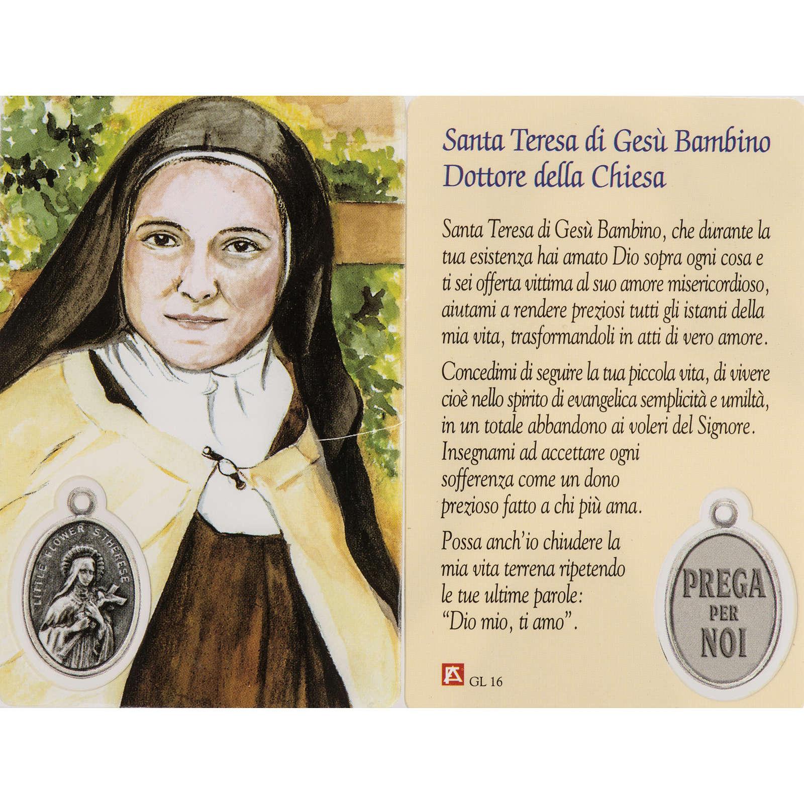 Immagine Santa Teresa con preghiera plastificata 4