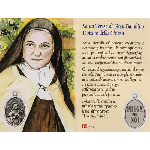 Immagine Santa Teresa con preghiera plastificata 1
