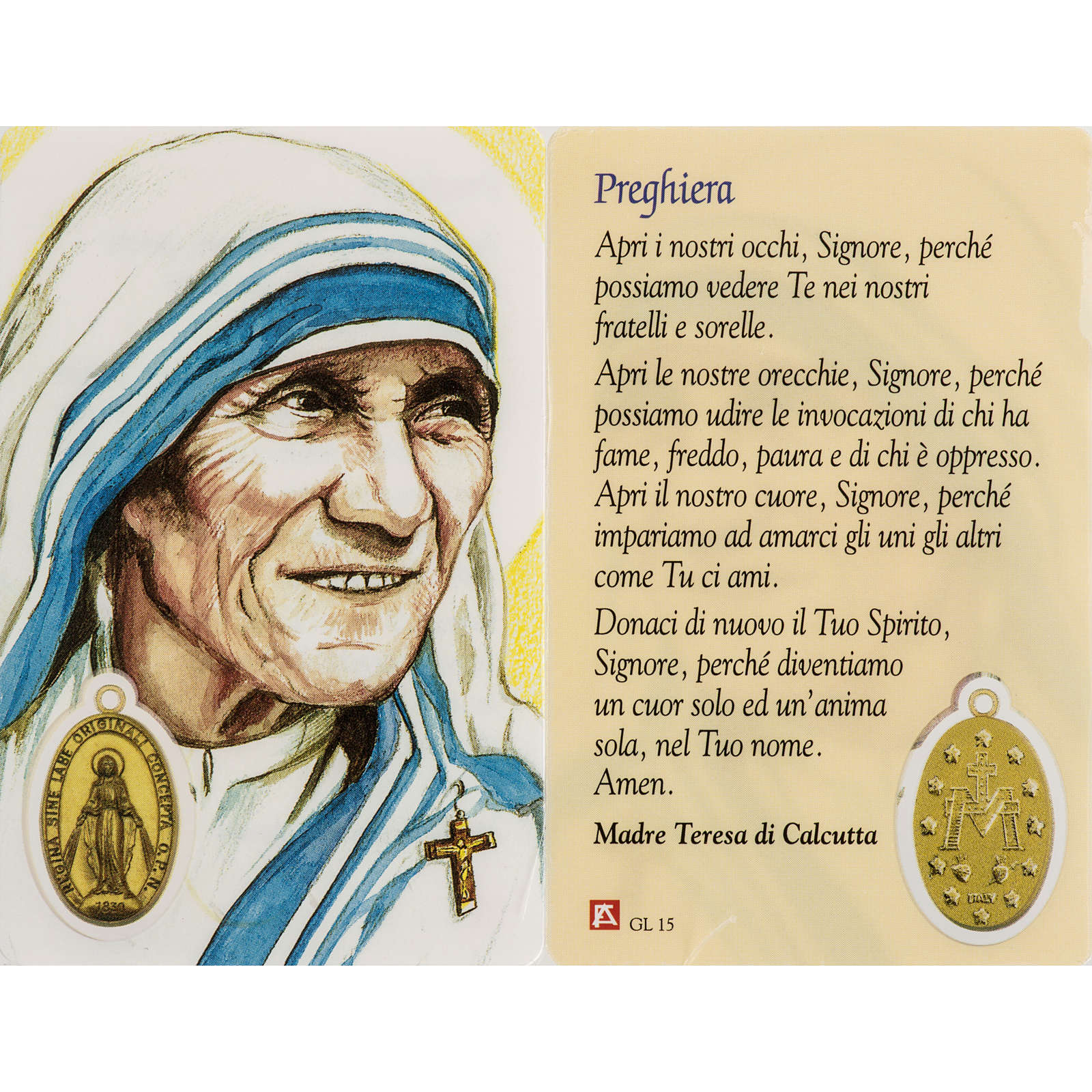 Holy card, Mother Teresa with prayer, laminated 4