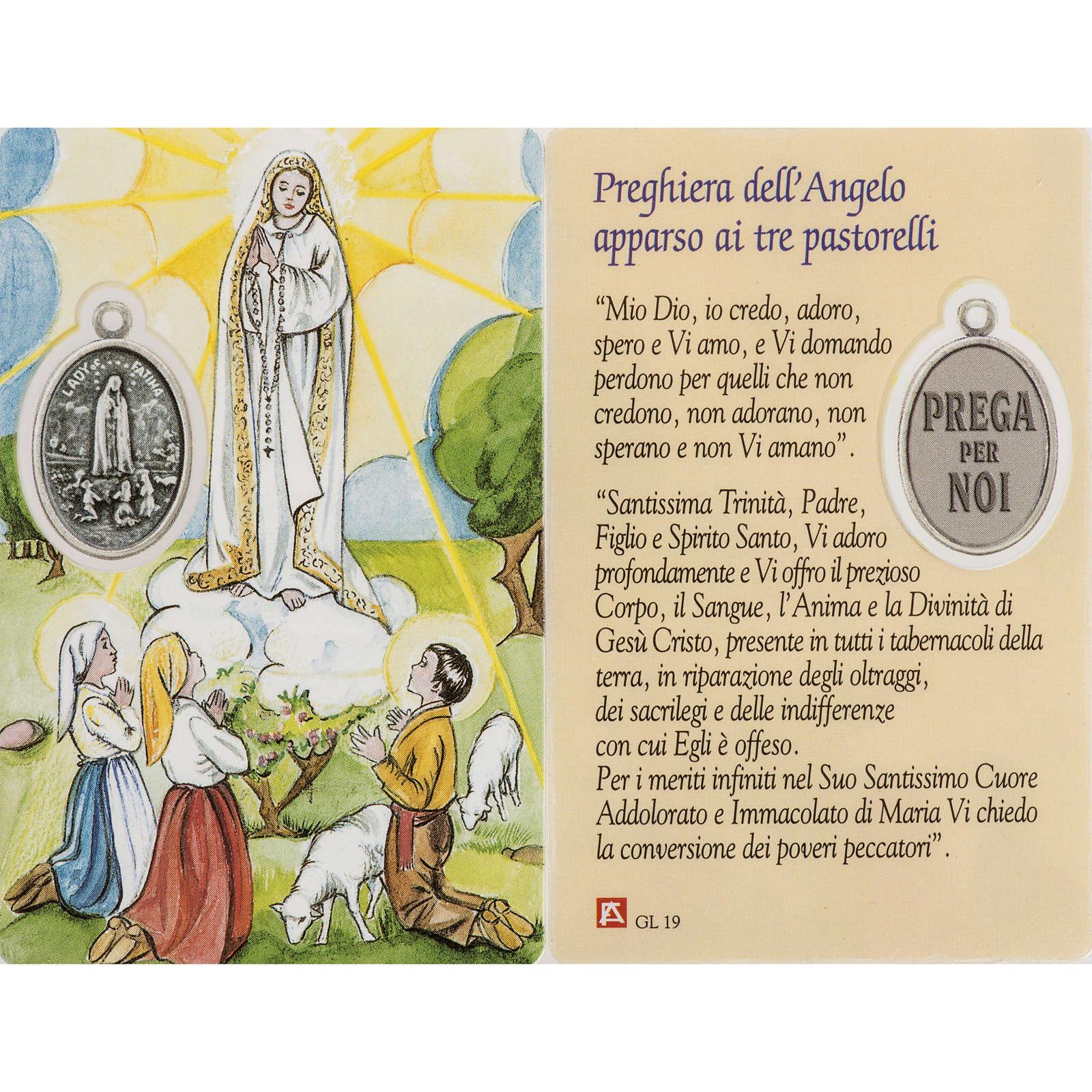 Imagen Virgen de Fátima con oración, plastificado 4