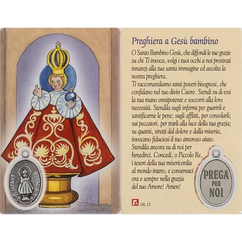 Santino Gesù Bambino di Praga plastificato con preghiera 1