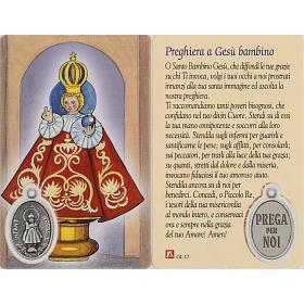 Holy card, baby Jesus of Prague, laminated with prayer s1