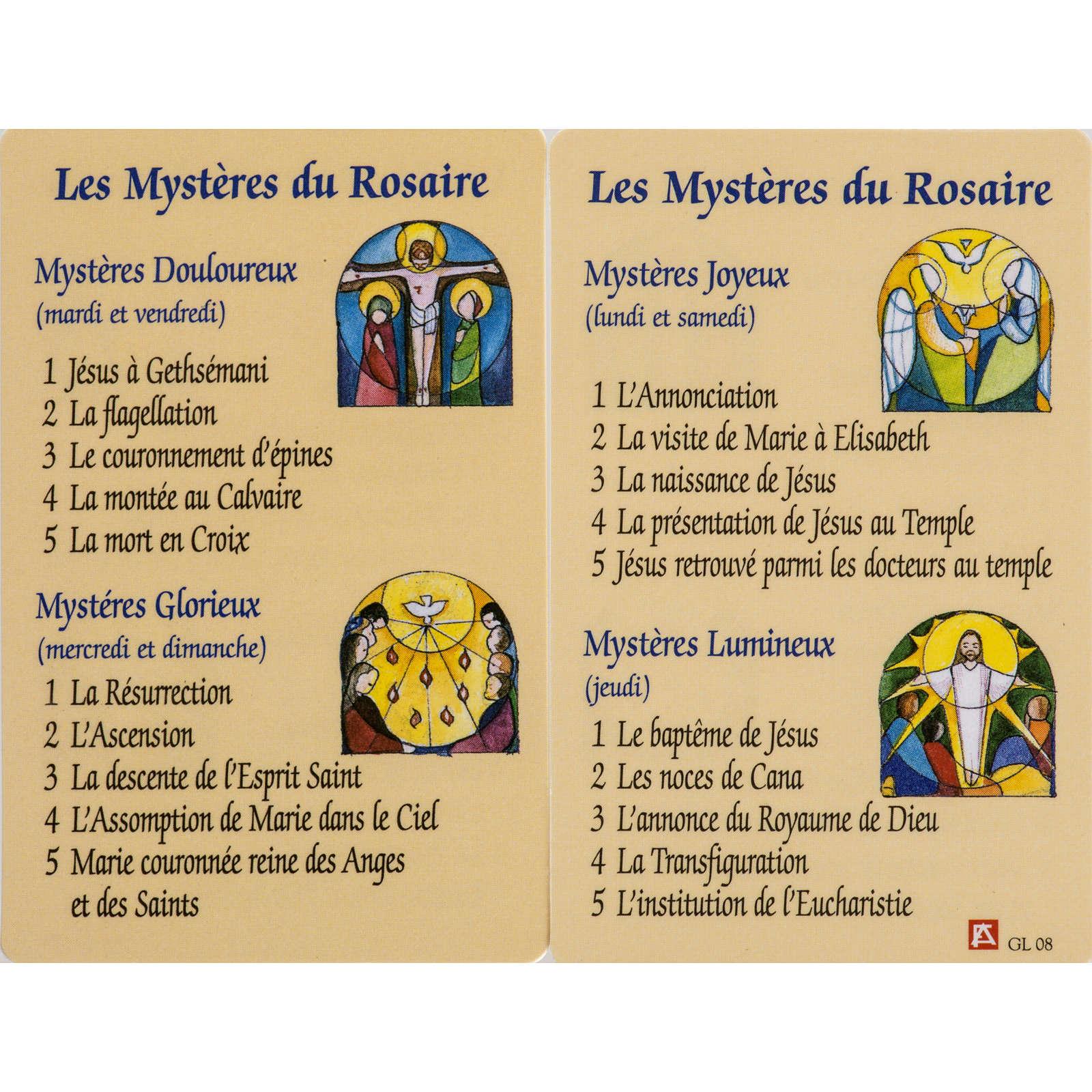 Santino Misteri Rosario plastificato con preghiera FRANCESE 4