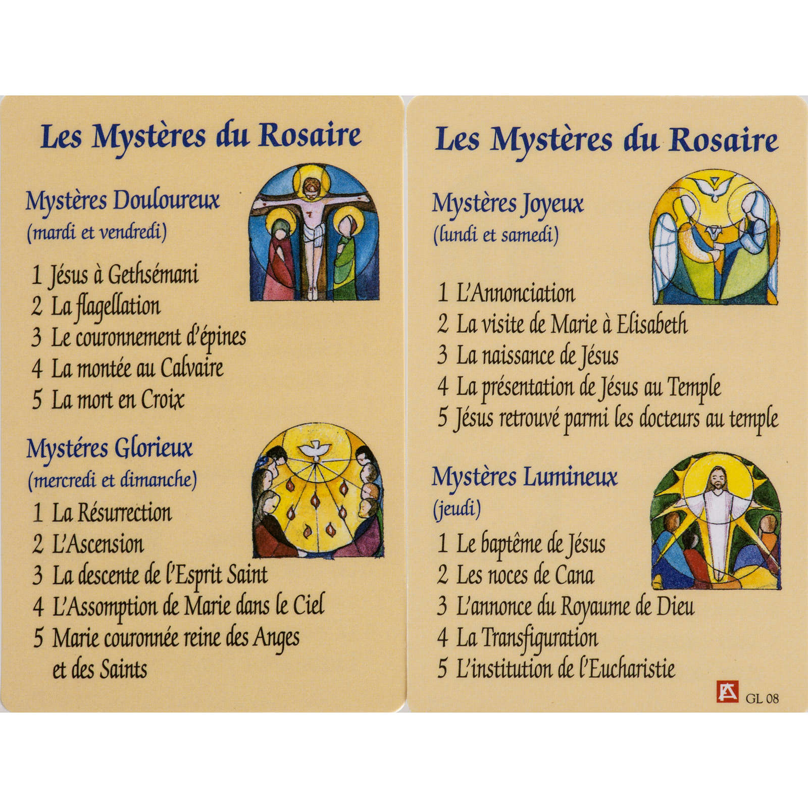 Holy card, Mysteries of the Rosary laminated FRENCH 4