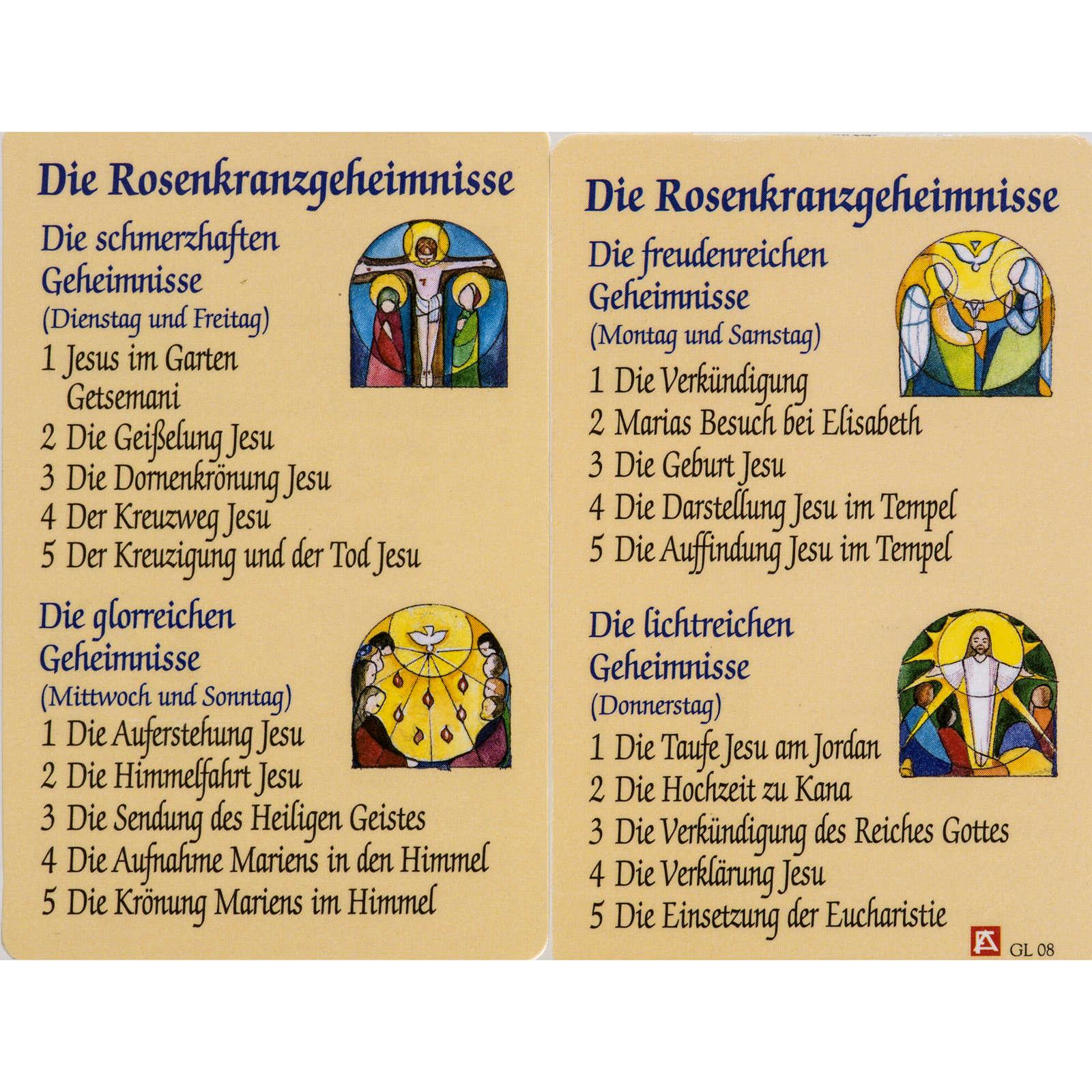 Estampa Misterio Rosario con oración ALEMÁN 4