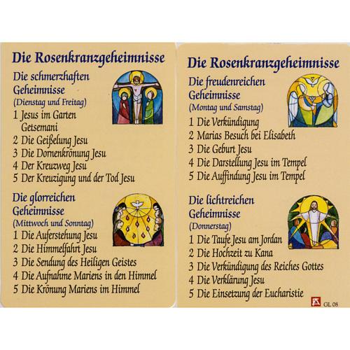 Estampa Misterio Rosario con oración ALEMÁN 1