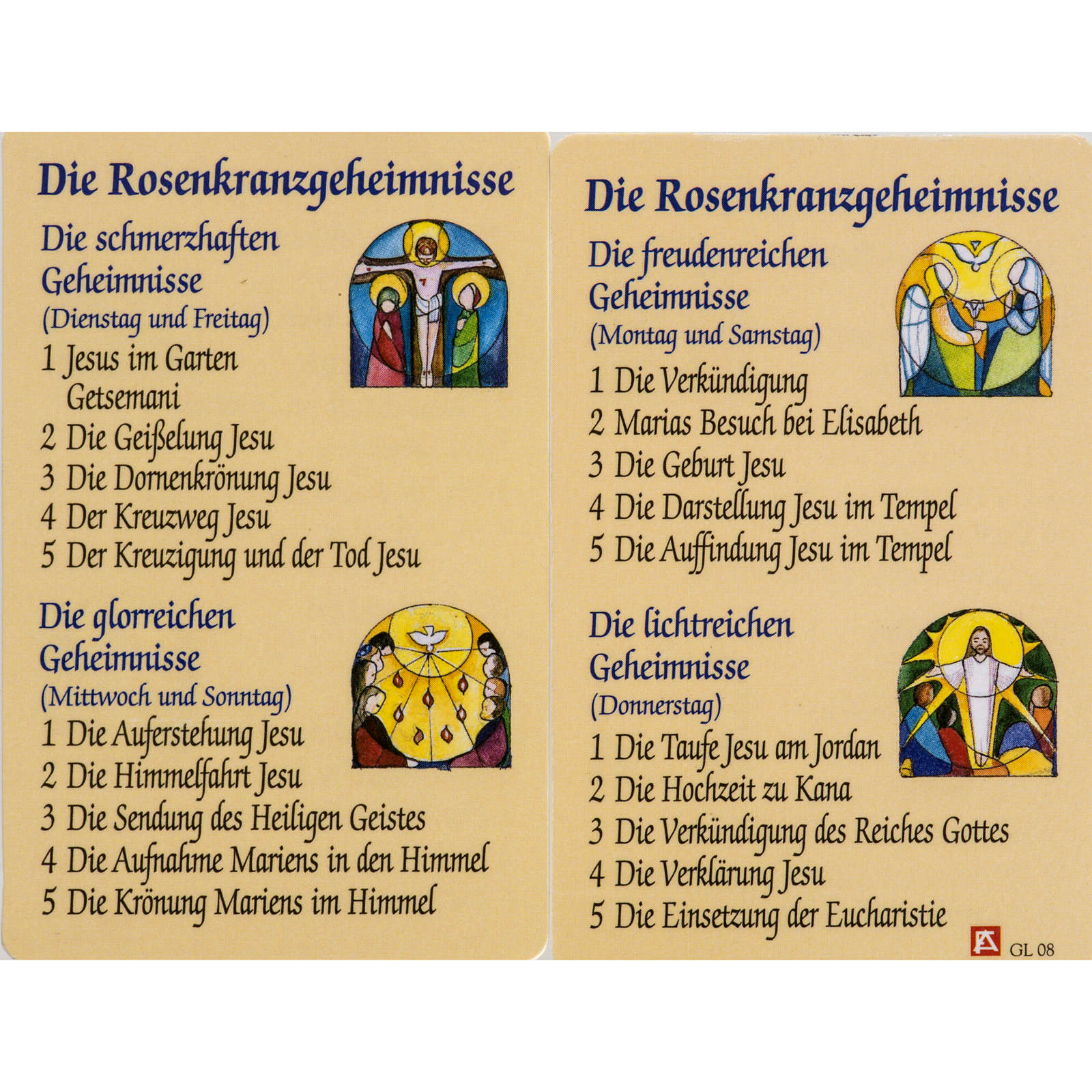 Holy card, Mysteries of the Rosary laminated 4