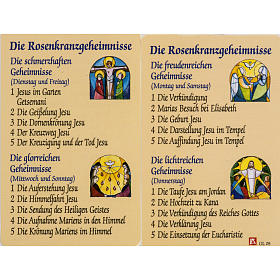 Holy card, Mysteries of the Rosary laminated s1