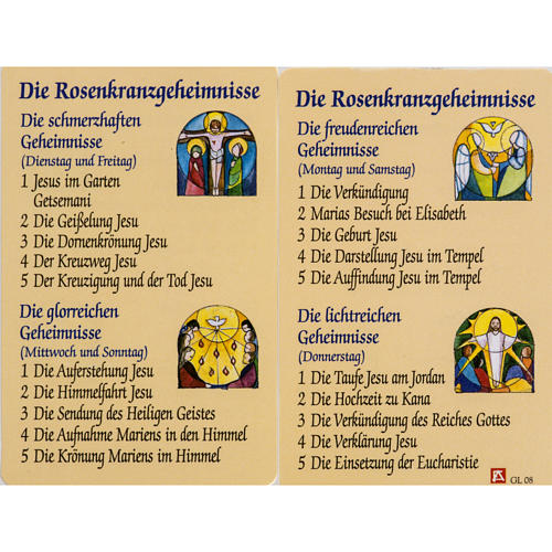 Holy card, Mysteries of the Rosary laminated 1