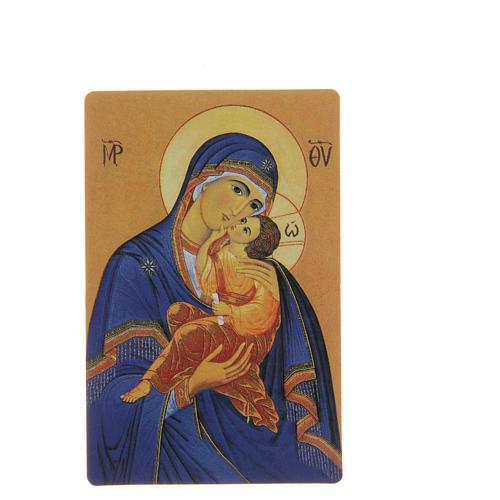 STOCK Santino Madonna Manto blu plastificato cm 8,5x5,4 1