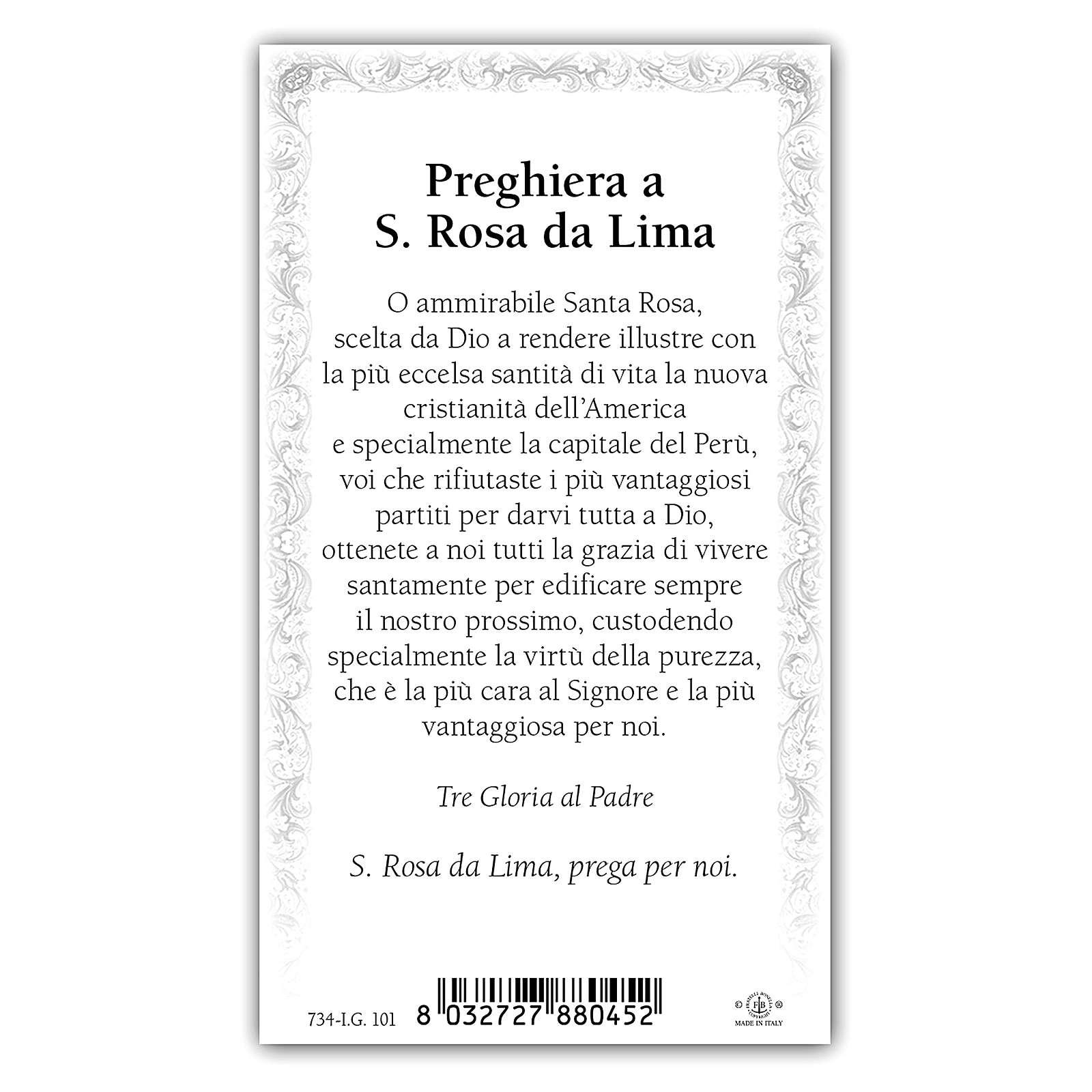 Holy card, Saint Rose of Lima, Prayer ITA 10x5 cm 4