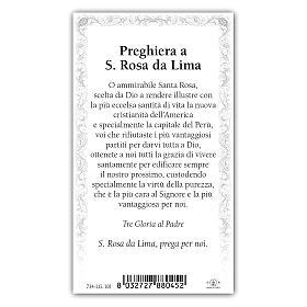 Holy card, Saint Rose of Lima, Prayer ITA 10x5 cm s2