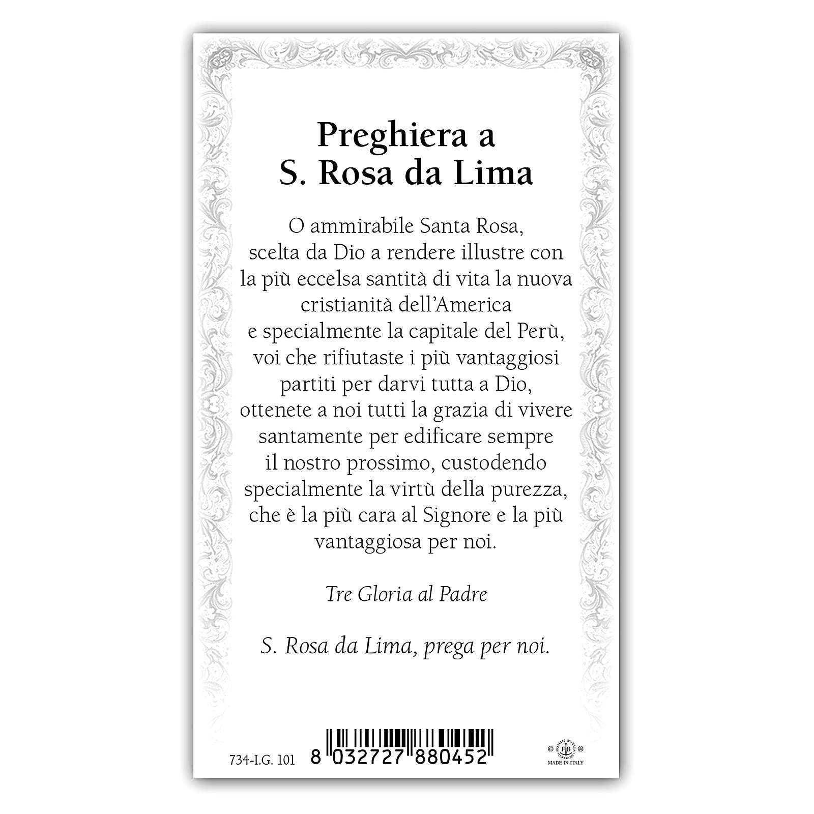 Estampa religiosa Santa Rosa de Lima 10x5 cm ITA 4
