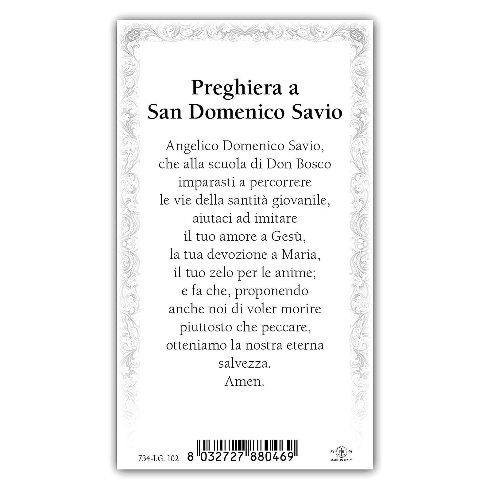 Santino San Domenico Savio 10x5 cm ITA 4