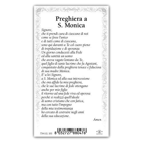 Holy card, Saint Monica, Prayer ITA, 10x5 cm 2