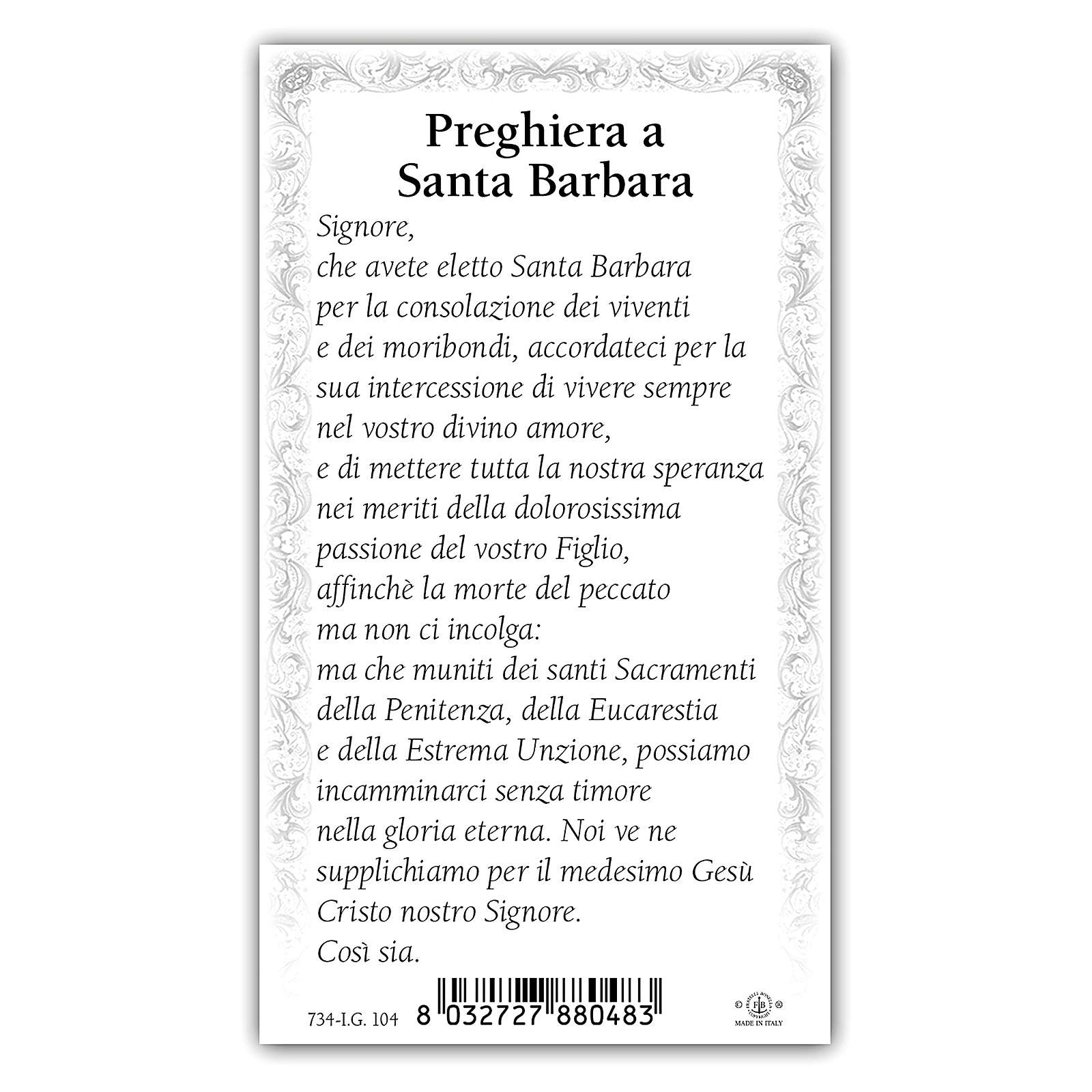 Holy card, Saint Barbara, Prayer ITA, 10x5 cm 4