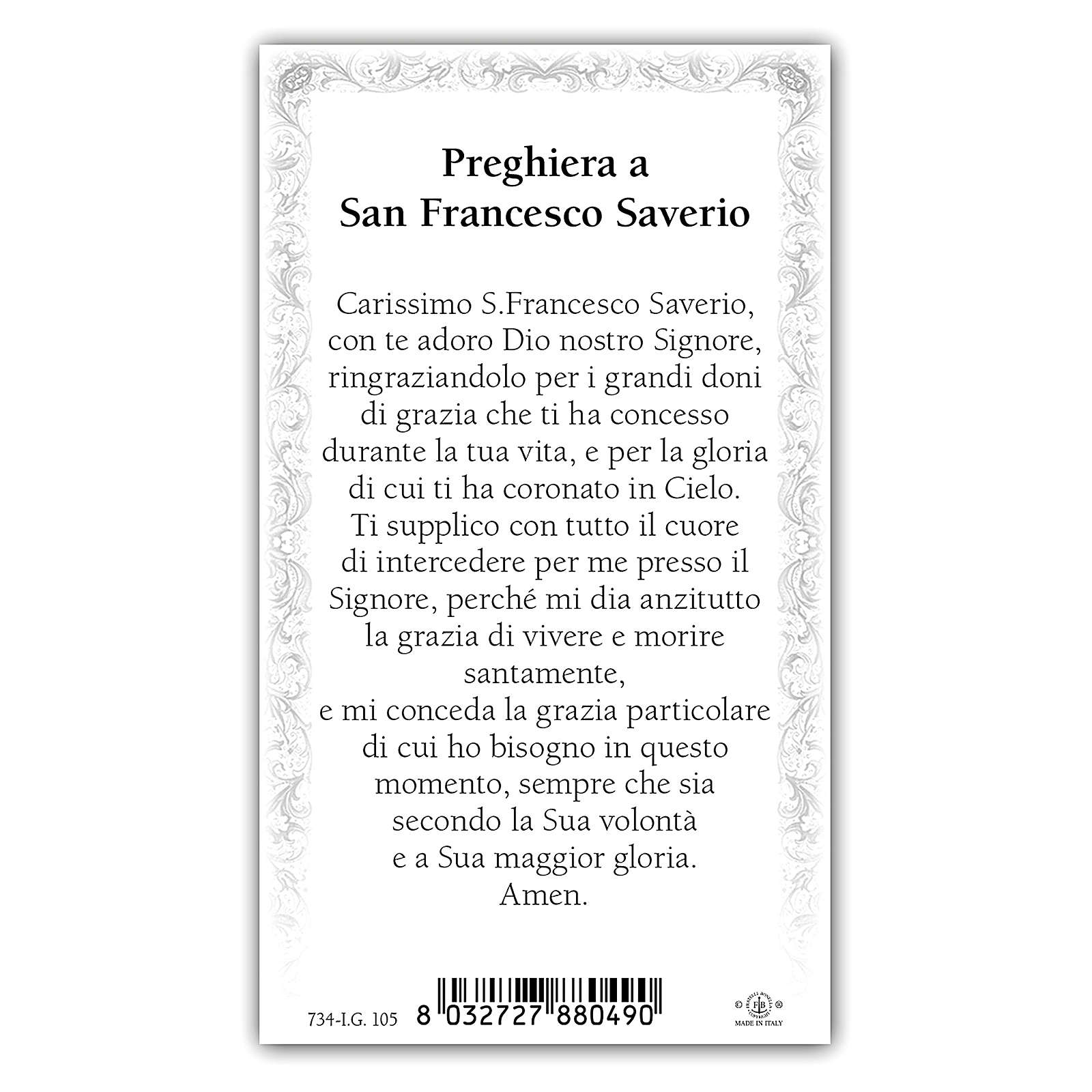 Santino San Francesco Saverio 10x5 cm ITA 4