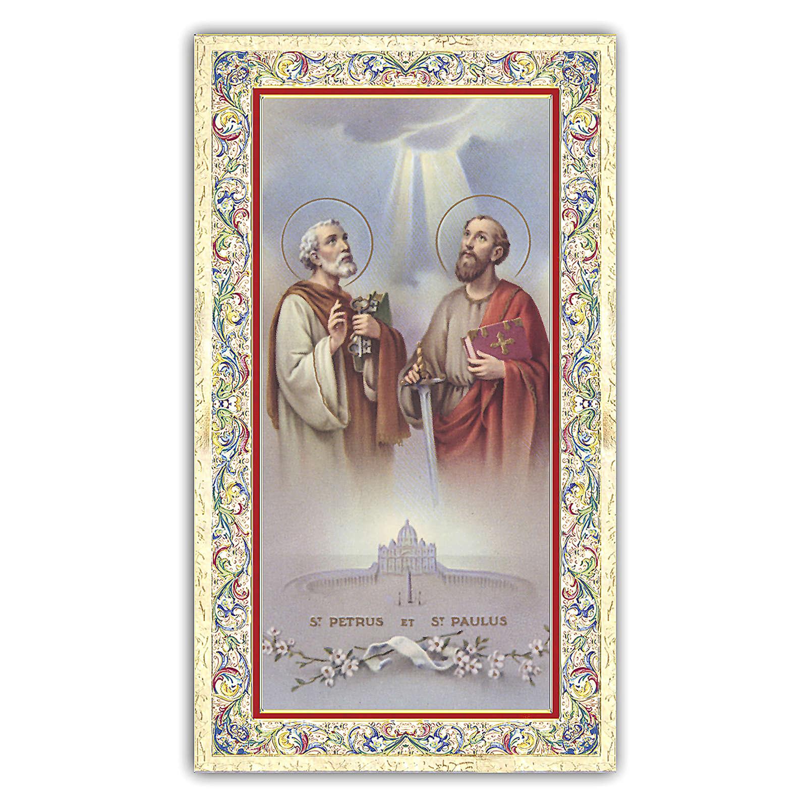 Holy card, Saints Peter and Paul, Prayer ITA, 10x5 cm 4