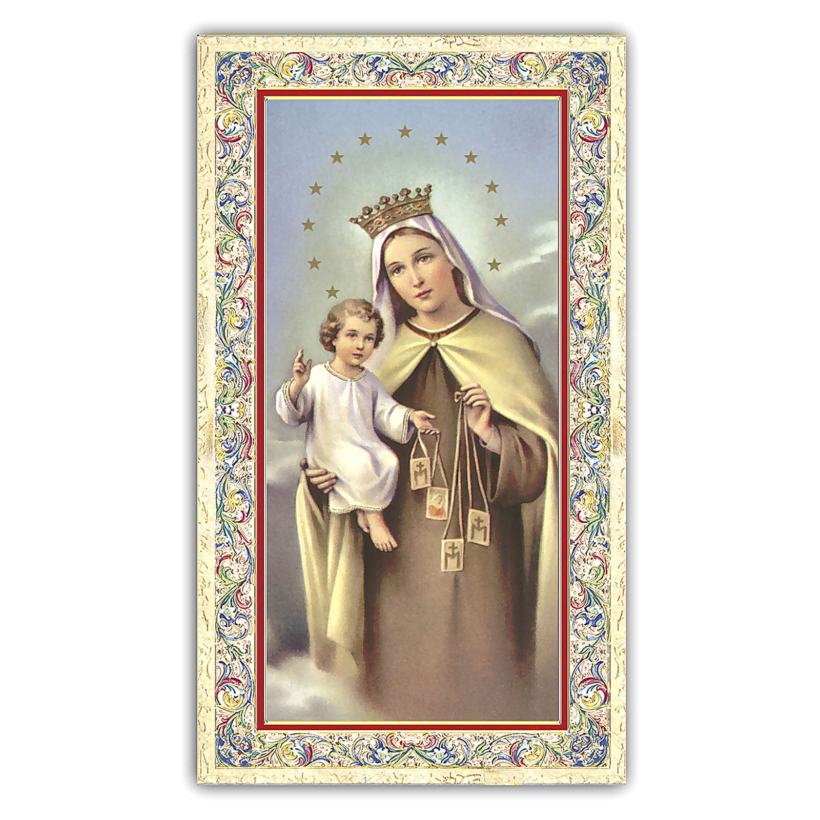 Holy card, Blessed Mother of Mount Carmel, Prayer ITA, 10x5 cm 4