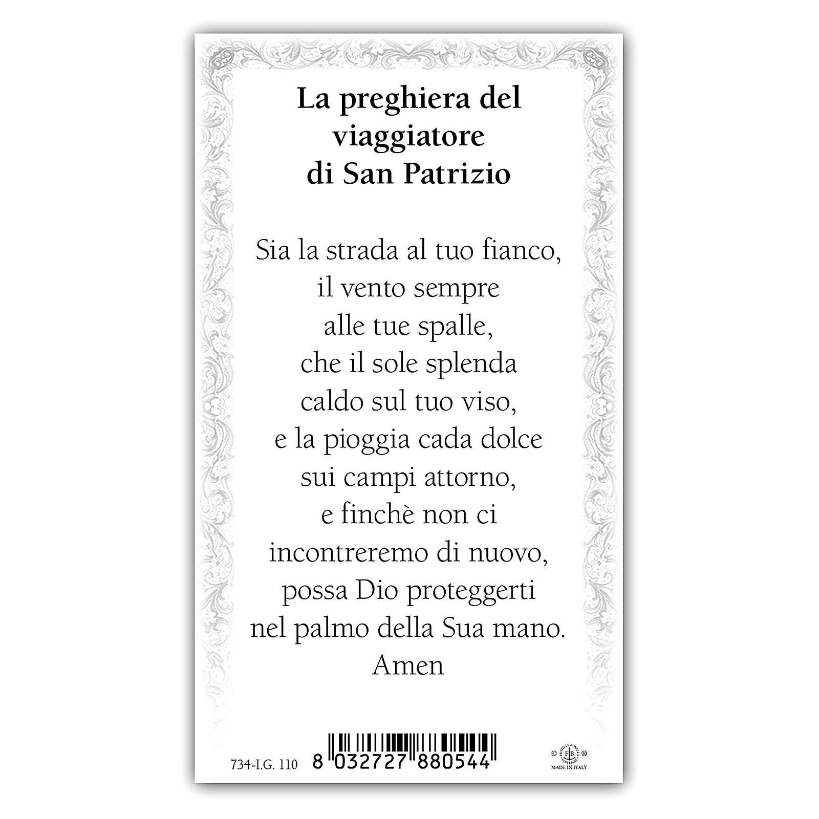 Estampa religiosa San Patricio 10x5 cm ITA 4