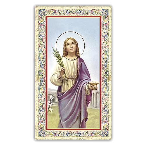 Holy card, Saint Lucy, Prayer ITA, 10x5 cm 1
