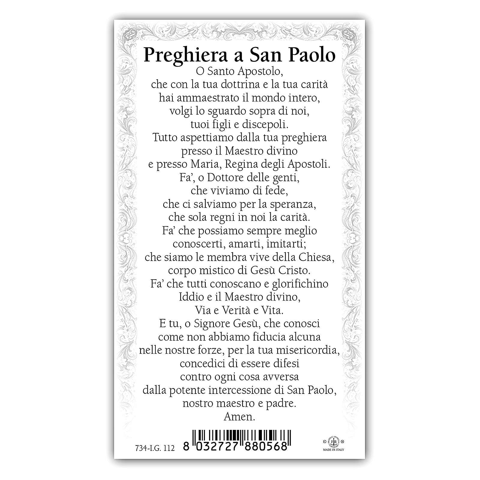 Estampa religiosa San Pablo 10x5 cm ITA 4