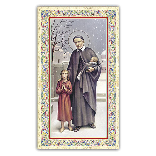 Holy card, Saint Vincent de Paul, Prayer ITA, 10x5 cm 1
