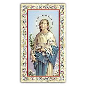 Holy card, Saint Agnes, Prayer ITA, 10x5 cm s1