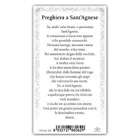 Holy card, Saint Agnes, Prayer ITA, 10x5 cm s2