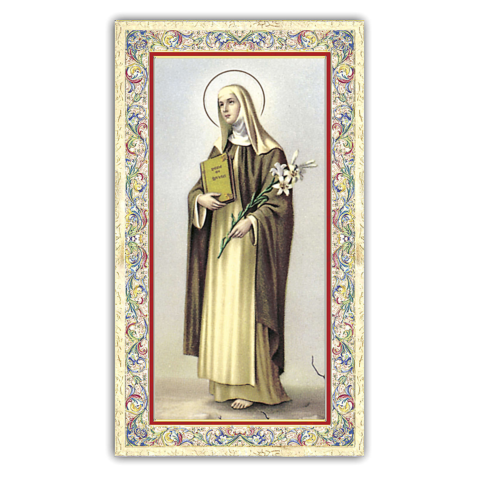 Holy card, Saint Catherine of Siena, Prayer ITA, 10x5 cm 4