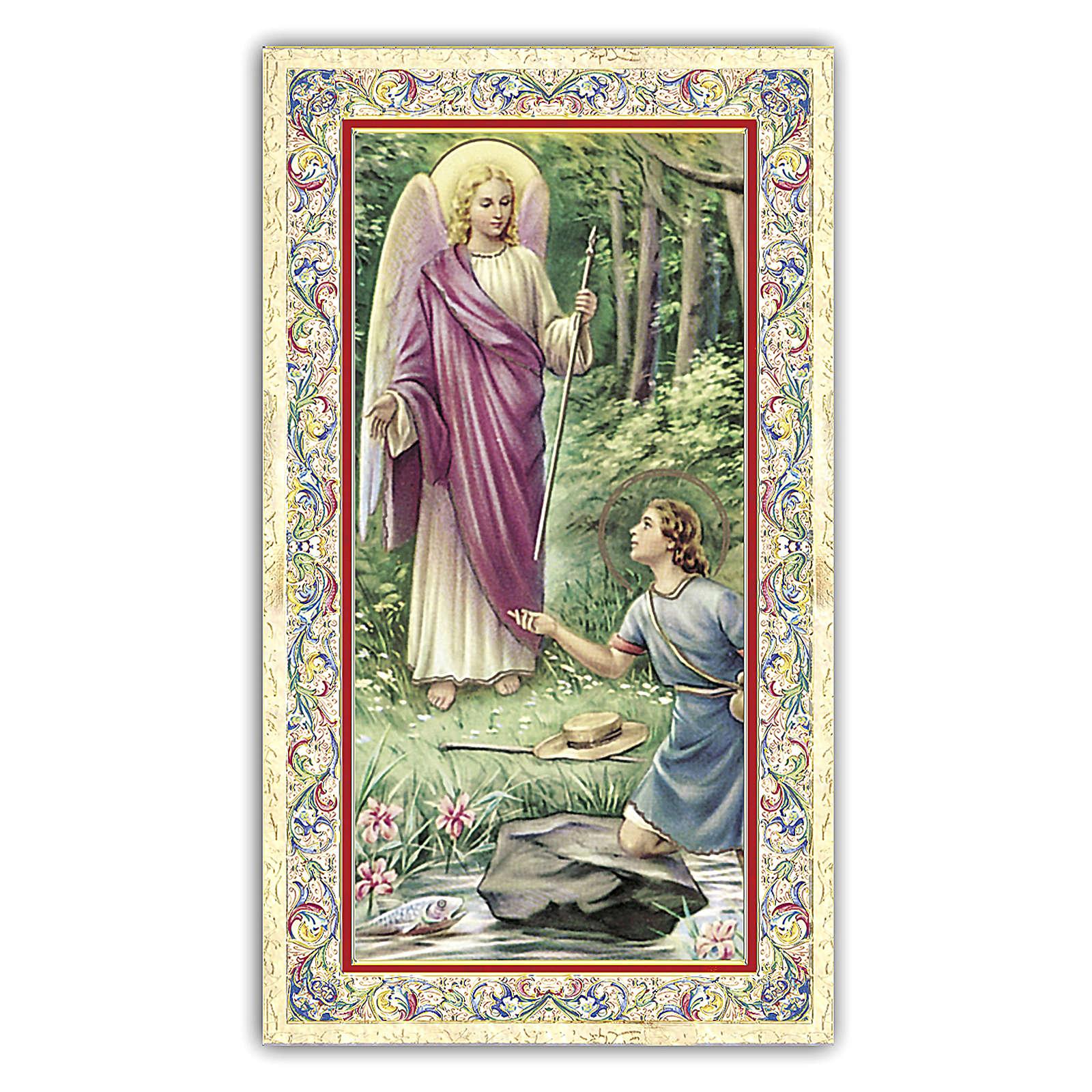Estampa religiosa el Arcángel Rafael 10x5 cm ITA 4
