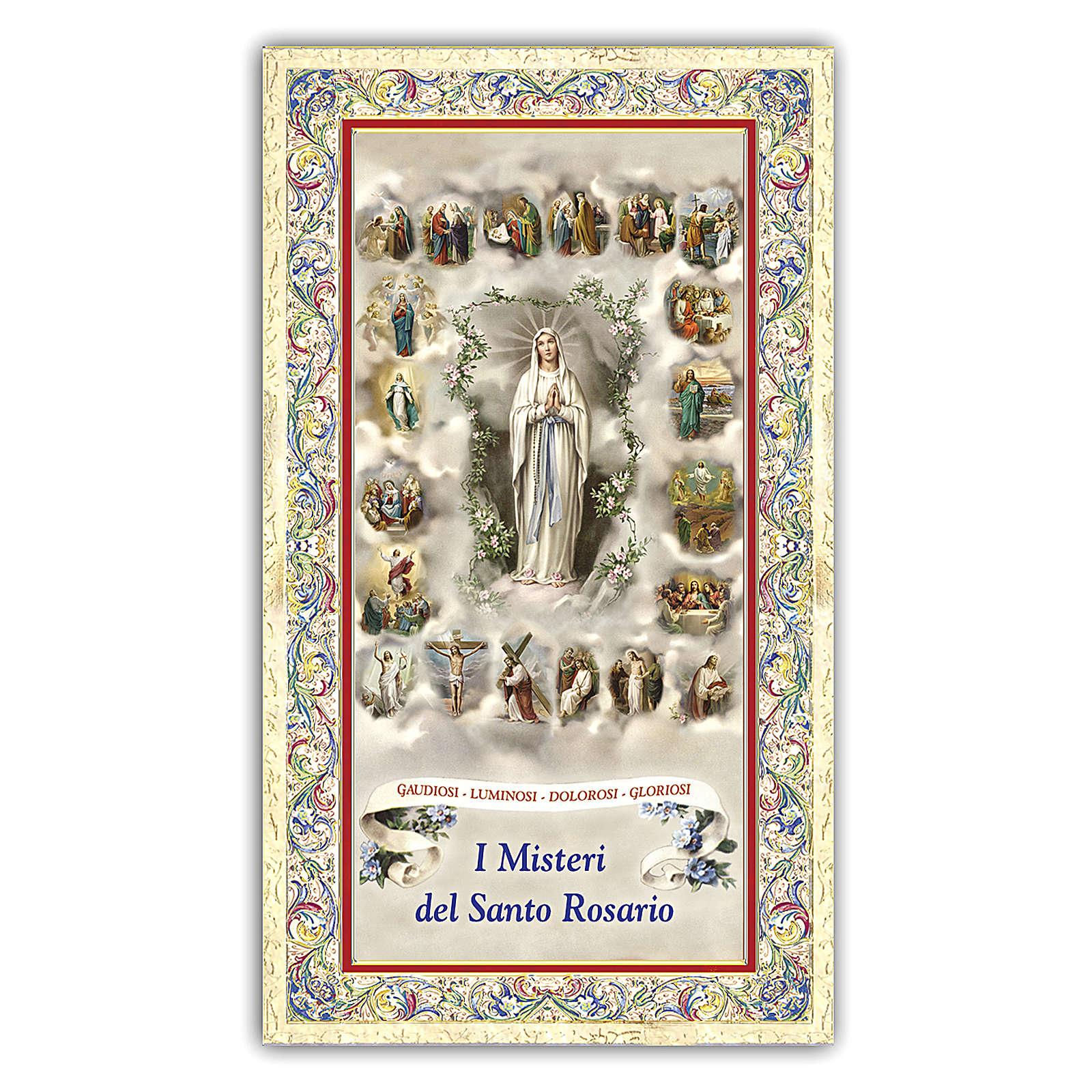 Estampa religiosa Virgen del Rosario con las miniaturas de los 20 Misterios 10x5 ITA 4