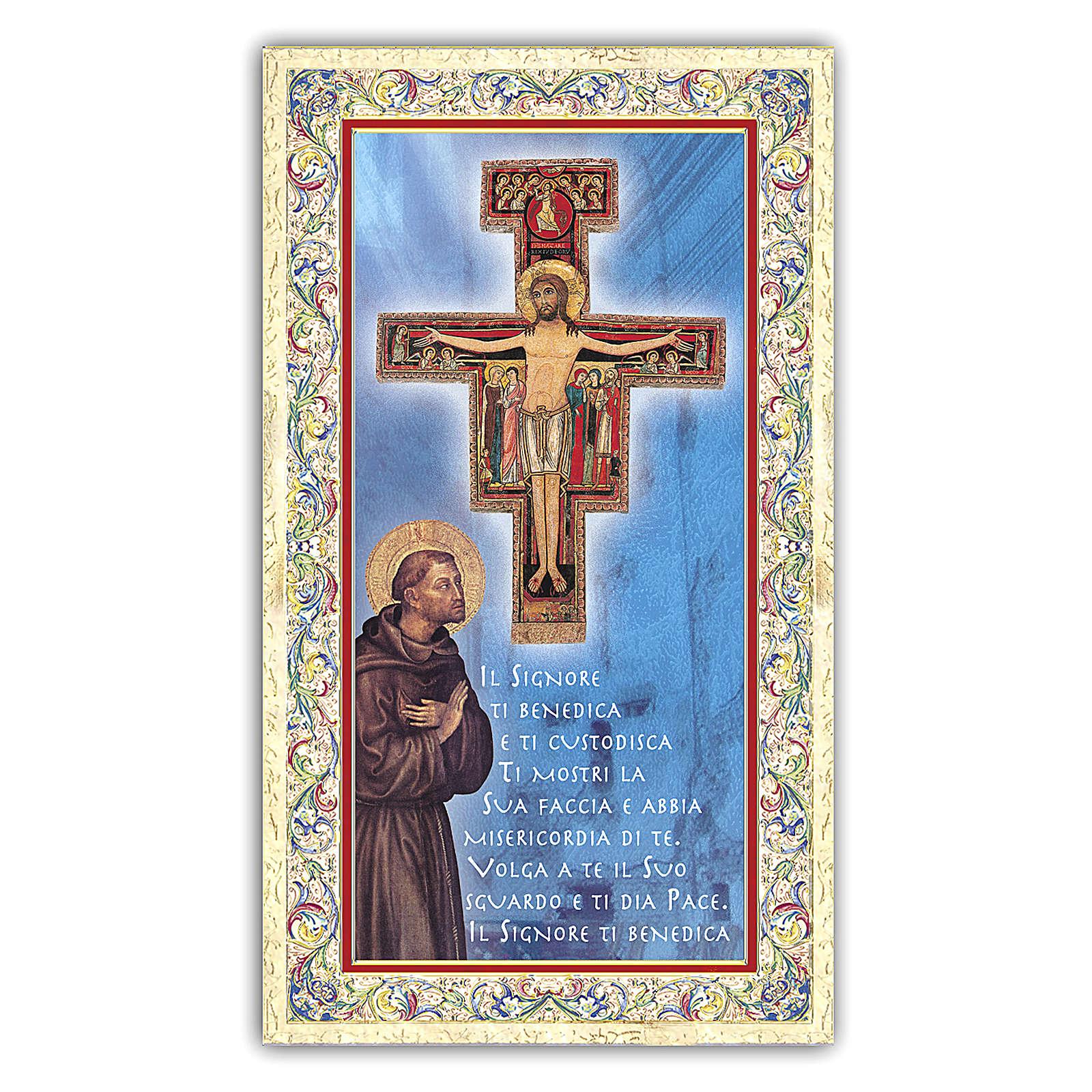 Estampa religiosa San Francisco de Asís que reza delante del Crucifijo ITA 4