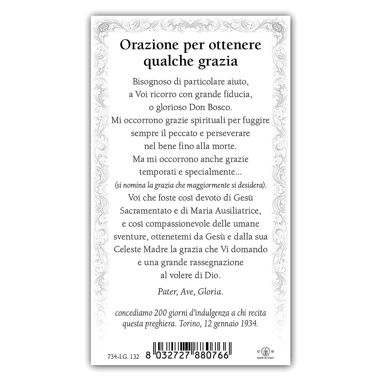 Santino Don Bosco 10x5 cm ITA 4