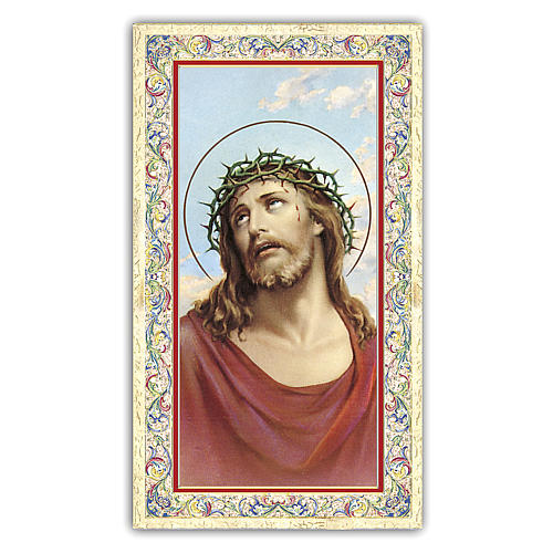 Holy card, Jesus crowned with thorns, Prayer ITA 10x5 cm 1