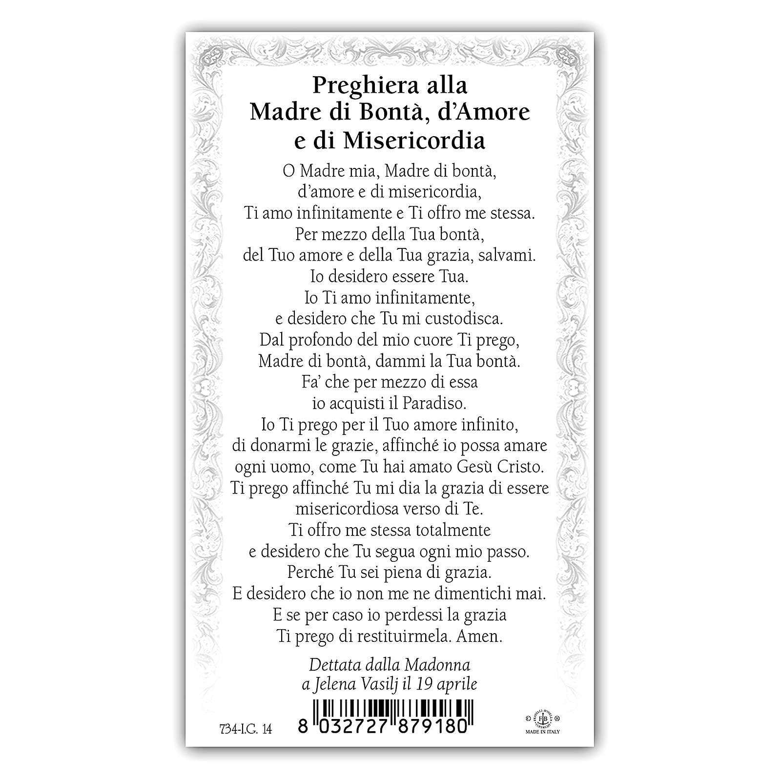 Estampa religiosa Virgen de Medjugorje 10x5 cm ITA 4