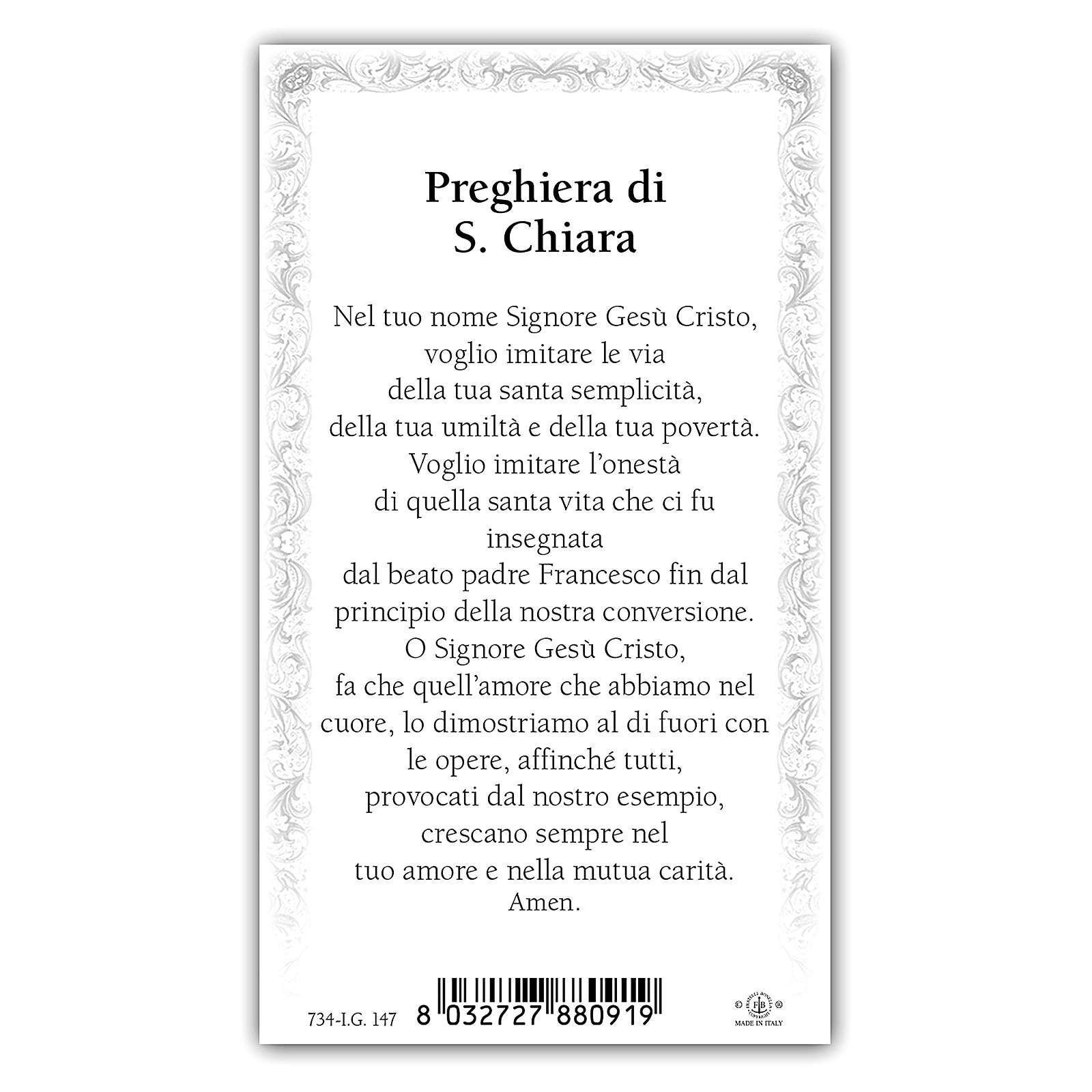 Holy card, Saint Clare, Saint Clare's Prayer ITA 10x5 cm 4