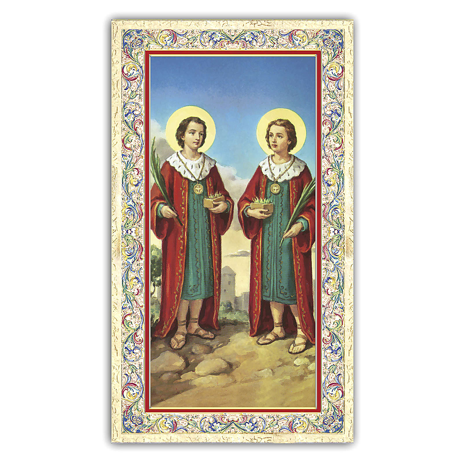 Estampa religiosa Santos Cosma y Damián 10x5 cm ITA 4