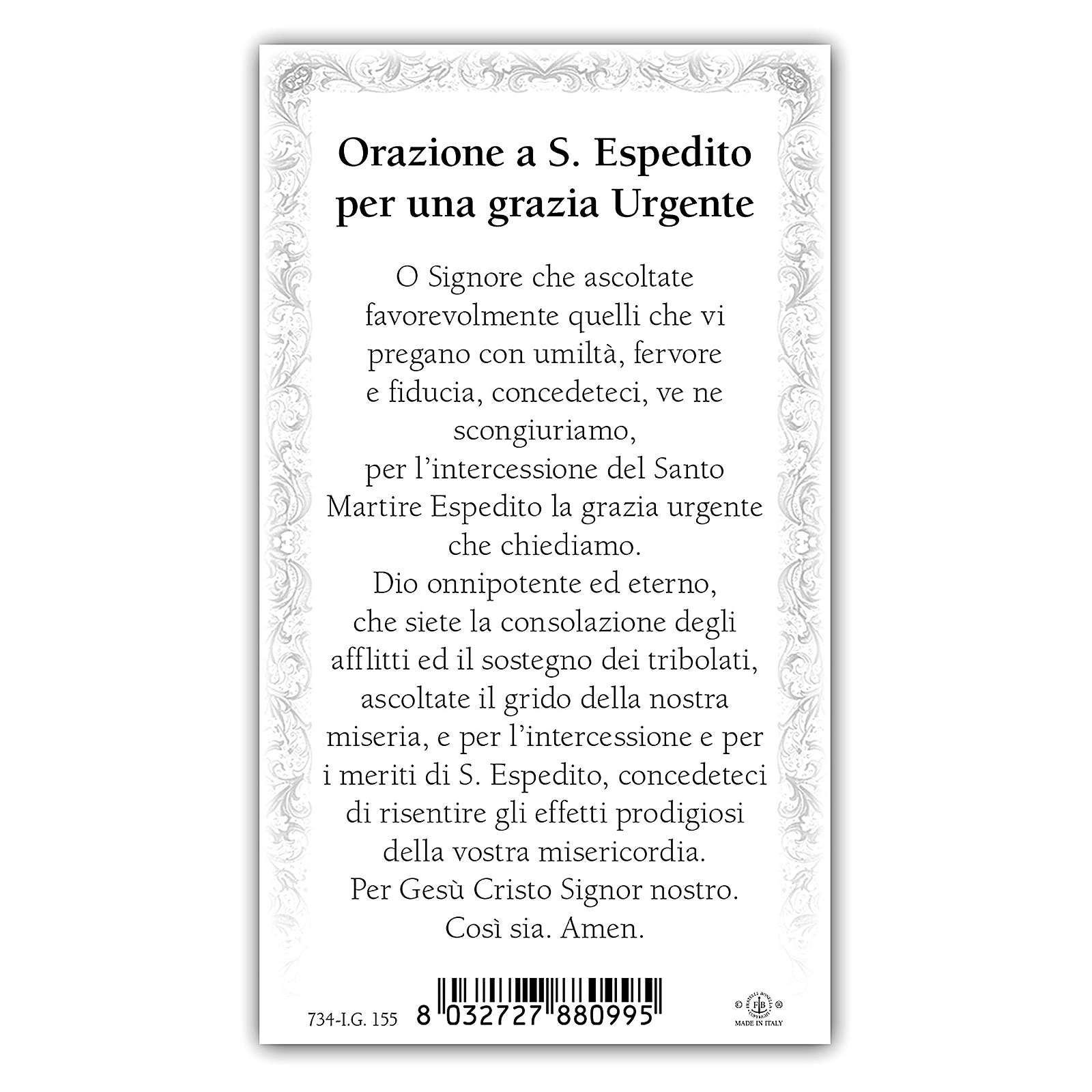 Santino Sant'Espedito 10x5 cm ITA 4