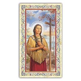 Santino Santa Kateri Tekawitha 10x5 cm ITA s1