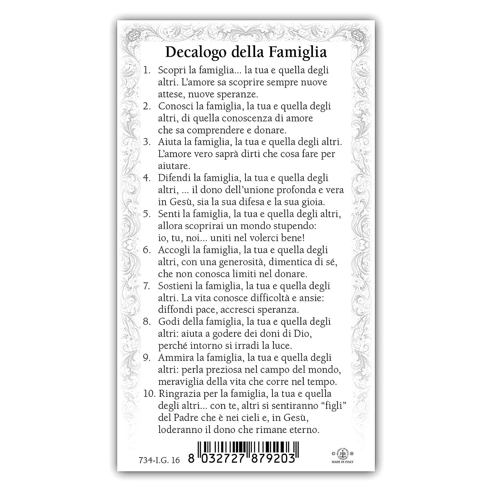 Holy card, Holy Family, Decalogue of the Family ITA, 10x5 cm 4