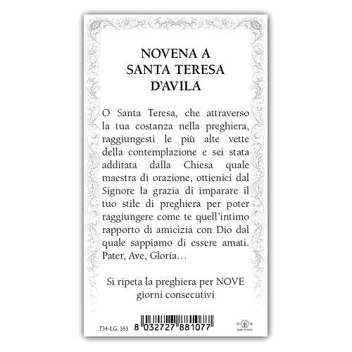 Holy card, Saint Teresa of Avila, Novena ITA, 10x5 cm 2