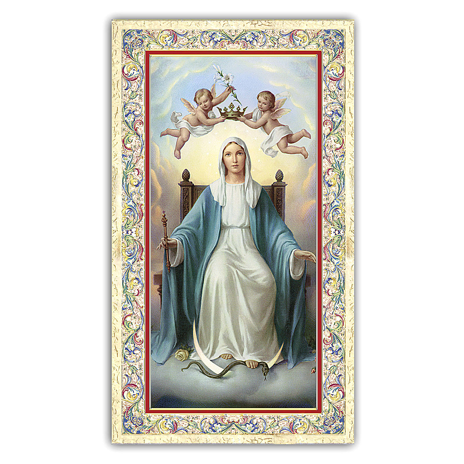 Santino Madonna in trono 10x5 cm ITA 4