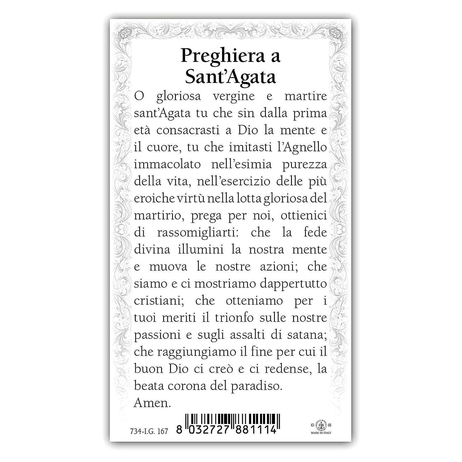 Santino Sant'Agata 10x5 cm ITA 4