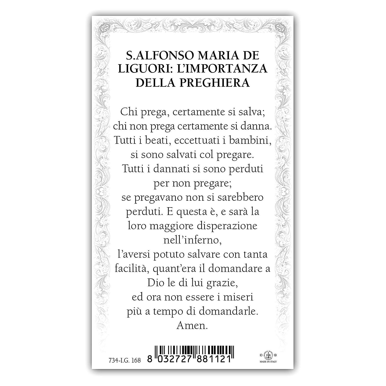 Santino Sant'Alfonso Maria de  Liguori 10x5 cm ITA 4