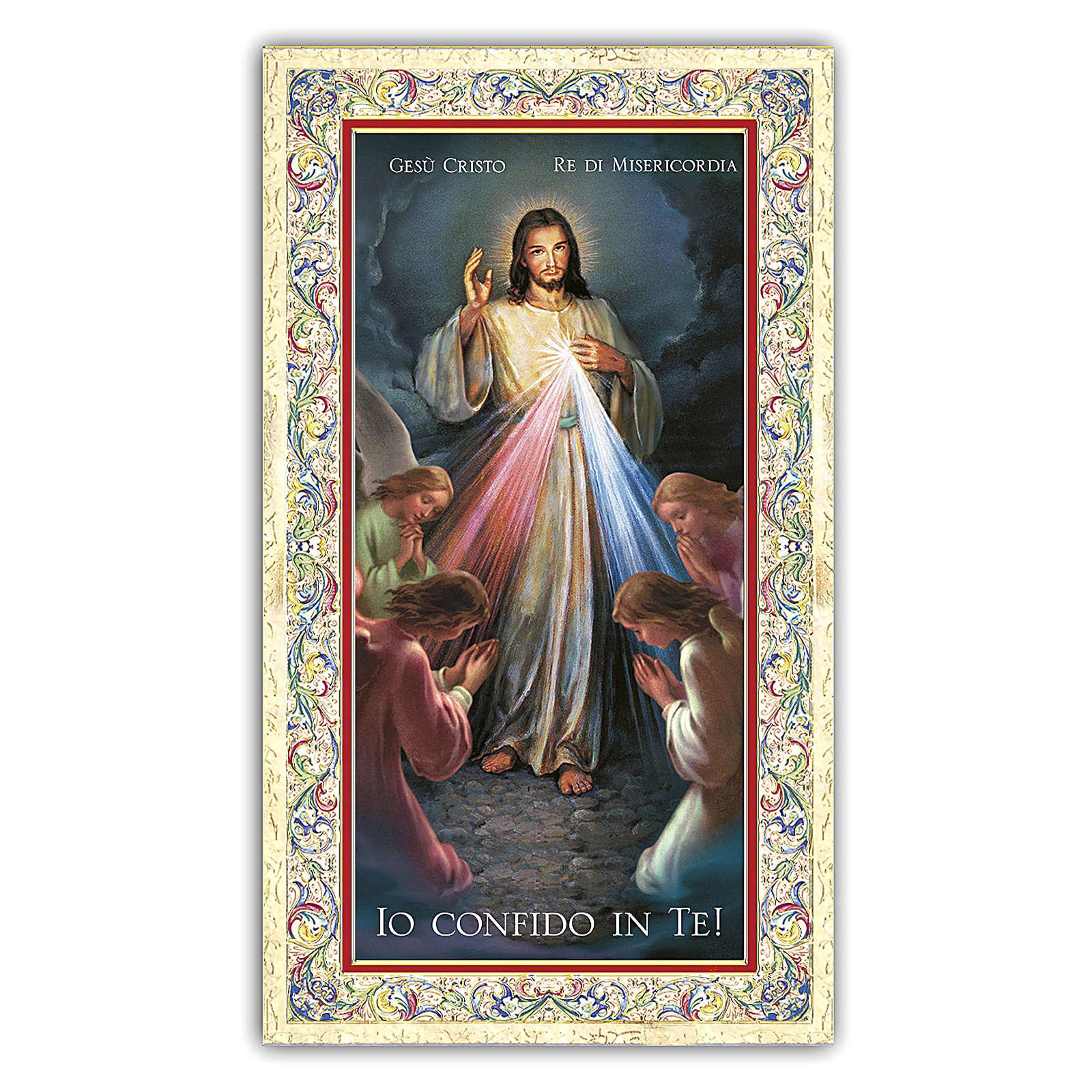 Estampa religiosa Jesús Misericordioso rodeado por Ángeles que rezan 10 ITA 4